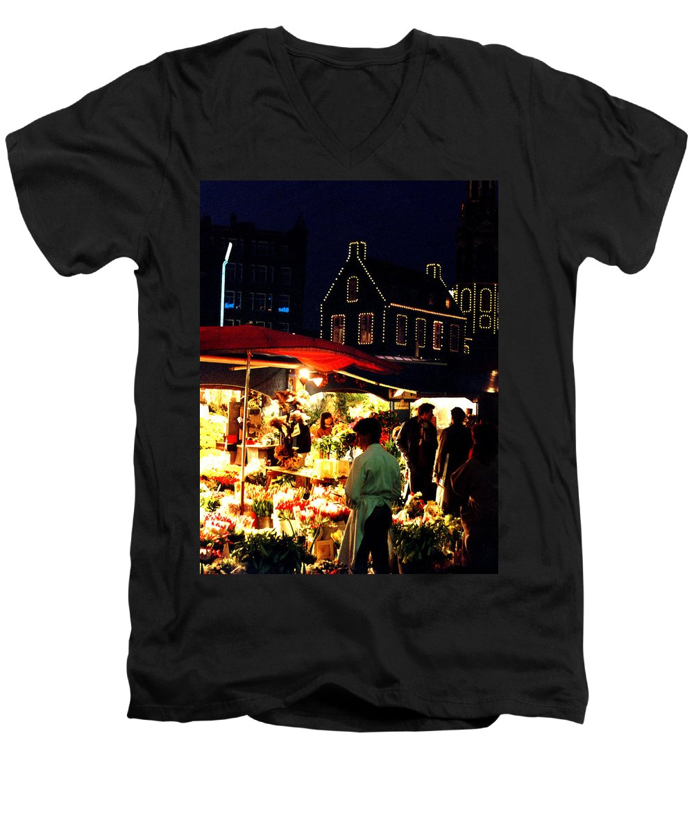 Flowers Men's V-Neck T-Shirt featuring the photograph Amsterdam Flower Market by Nancy Mueller