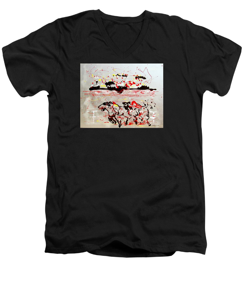 Abstract Men's V-Neck T-Shirt featuring the mixed media And Down The Stretch They Come by J R Seymour