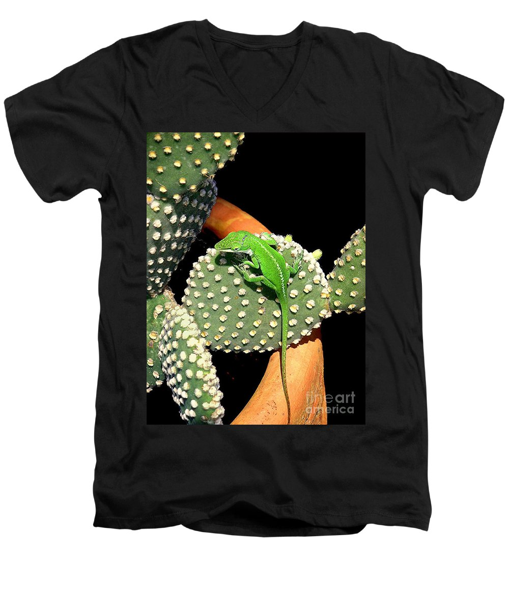 Nature Men's V-Neck T-Shirt featuring the photograph Anole Hanging Out With Cactus by Lucyna A M Green