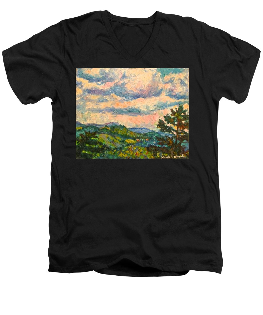 Landscape Paintings Men's V-Neck T-Shirt featuring the painting Another Rocky Knob by Kendall Kessler