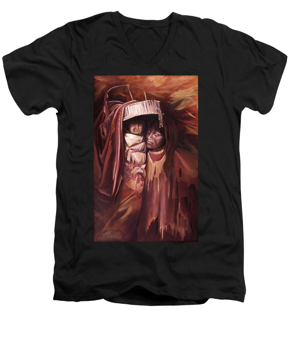 Native American Men's V-Neck T-Shirt featuring the painting Apache Girl And Papoose by Nancy Griswold