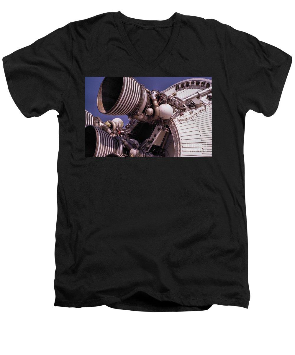 Technology Men's V-Neck T-Shirt featuring the photograph Apollo Rocket Engine by Richard Rizzo
