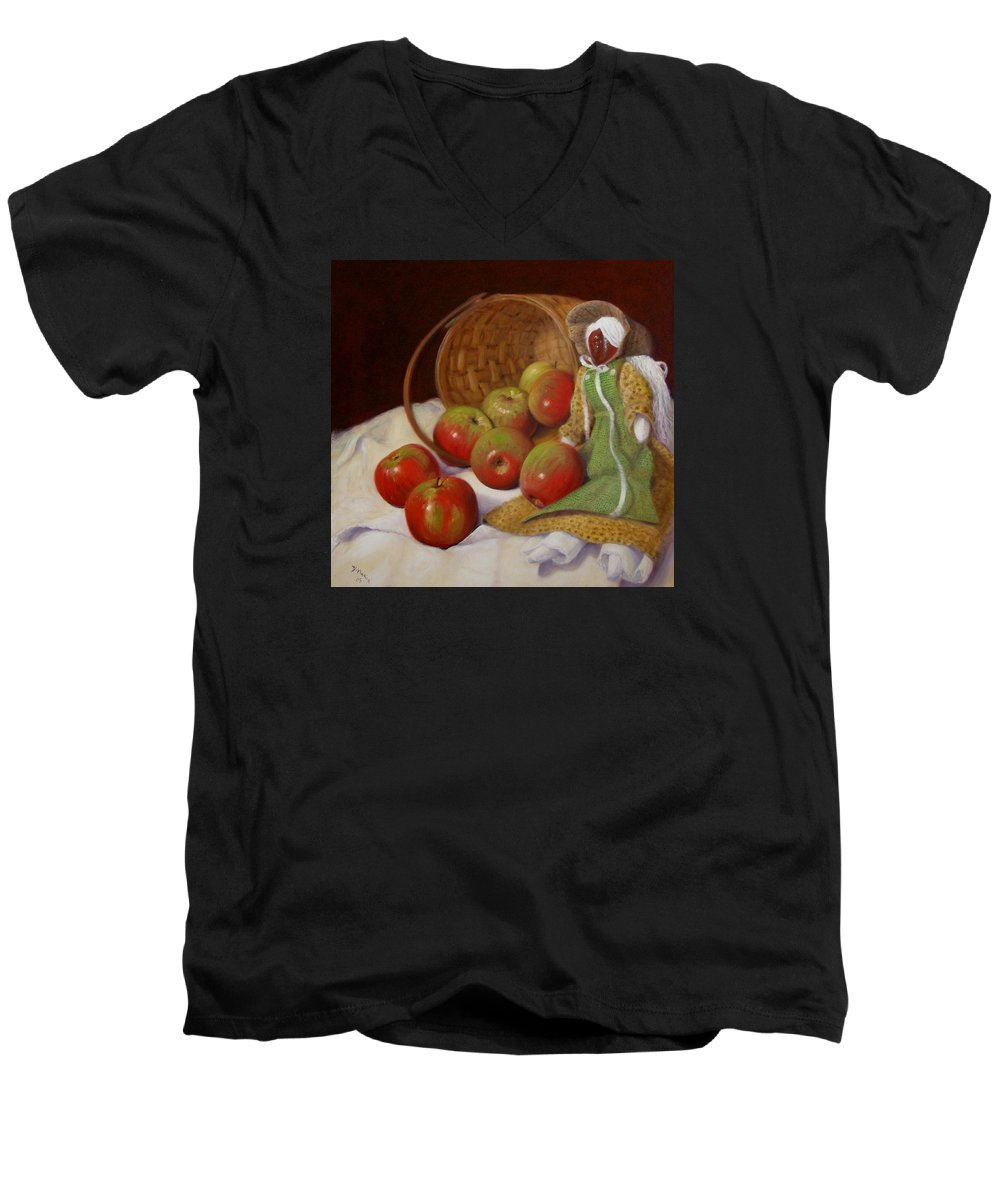 Realism Men's V-Neck T-Shirt featuring the painting Apple Annie by Donelli DiMaria