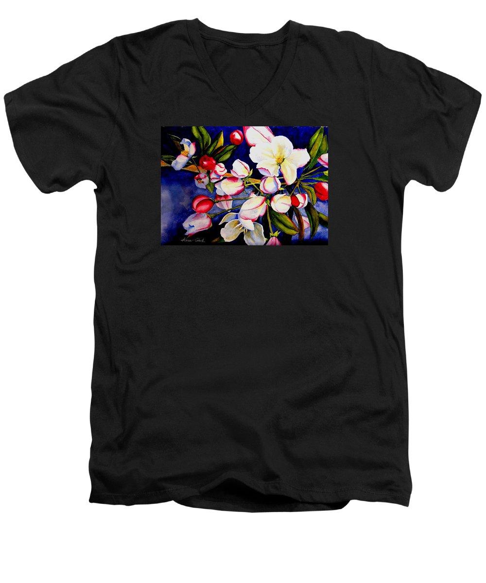 Apple Blossoms Men's V-Neck T-Shirt featuring the painting Apple Blossom Time by Karen Stark