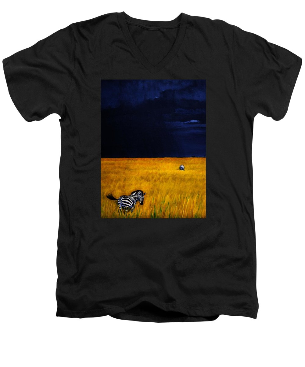 African Landscape Zebra Storm Clouds Edith Peterson Watson Scenery Nature Animals Wildlife Men's V-Neck T-Shirt featuring the painting Approaching Storm by Edith Peterson-Watson