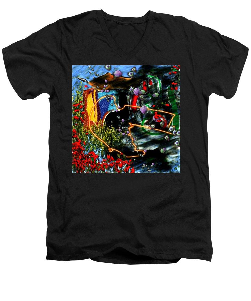 Ocean Water Deep Sea Nature Salad Men's V-Neck T-Shirt featuring the digital art Aquatic Salad by Veronica Jackson