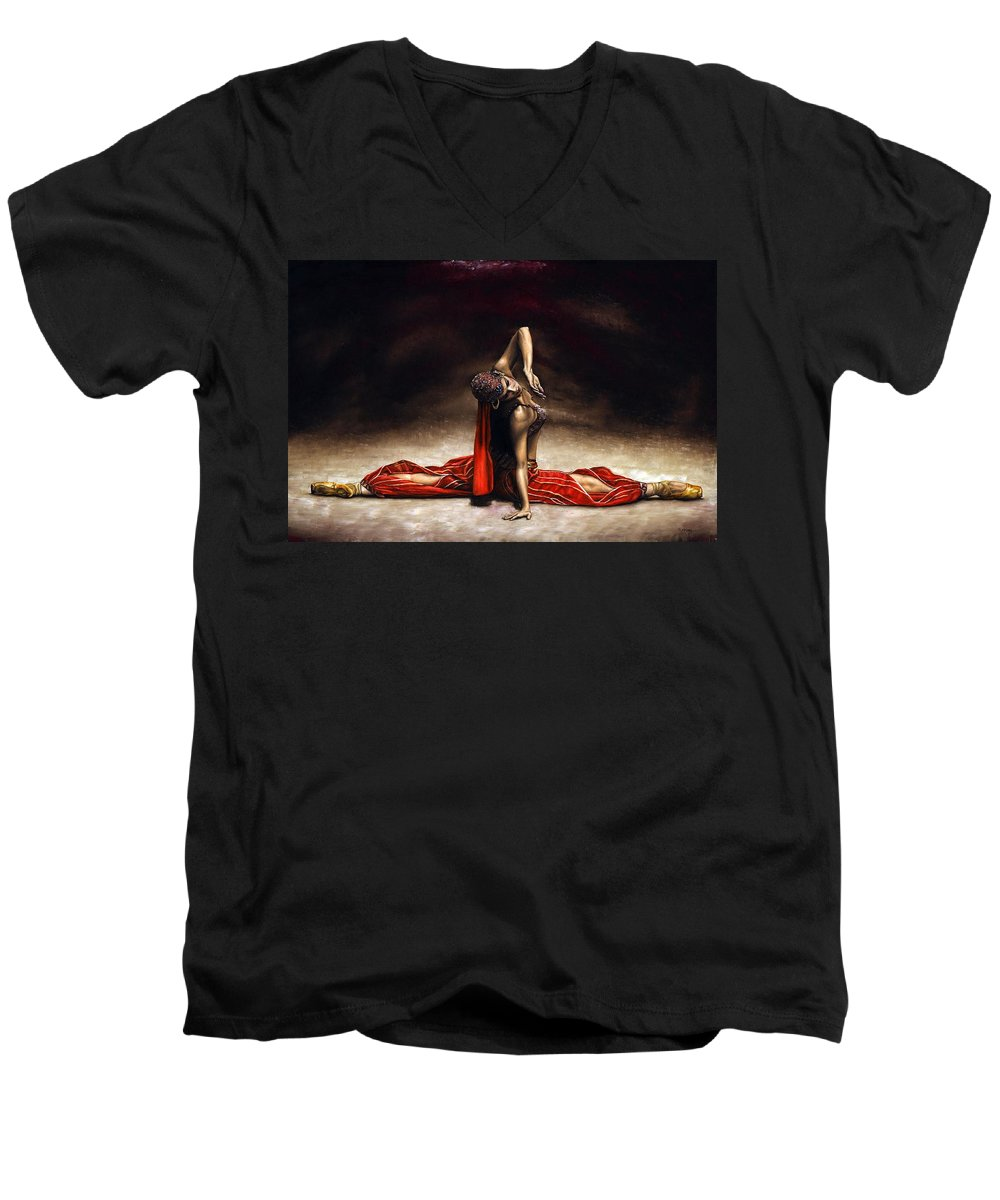 Ballerina Men's V-Neck T-Shirt featuring the painting Arabian Coffee by Richard Young
