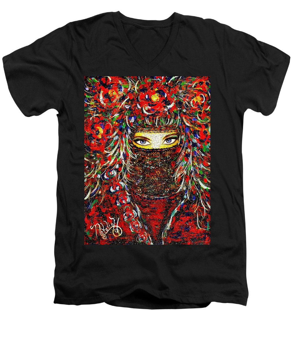 Woman Men's V-Neck T-Shirt featuring the painting Arabian Eyes by Natalie Holland