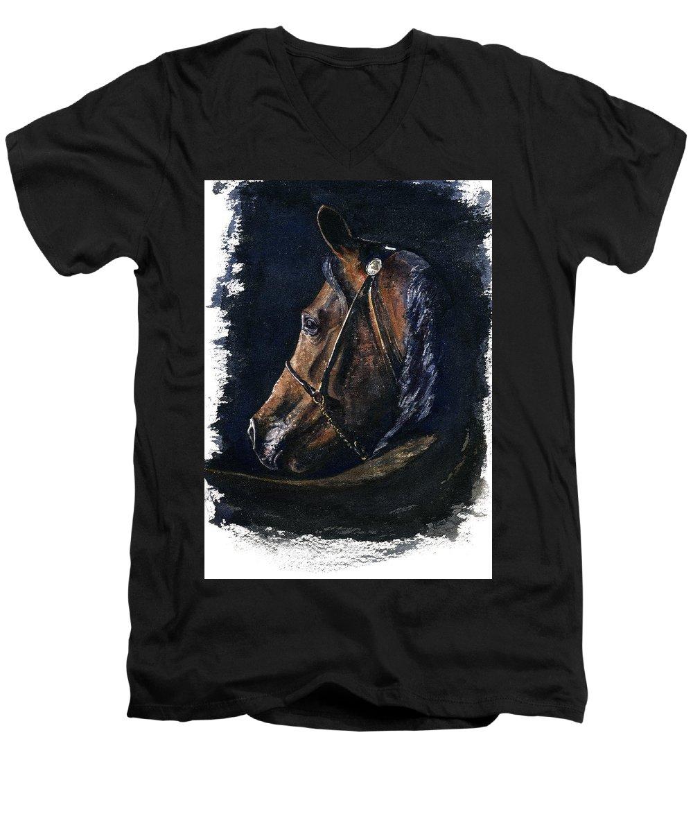 Horse Men's V-Neck T-Shirt featuring the painting Arabian by John D Benson