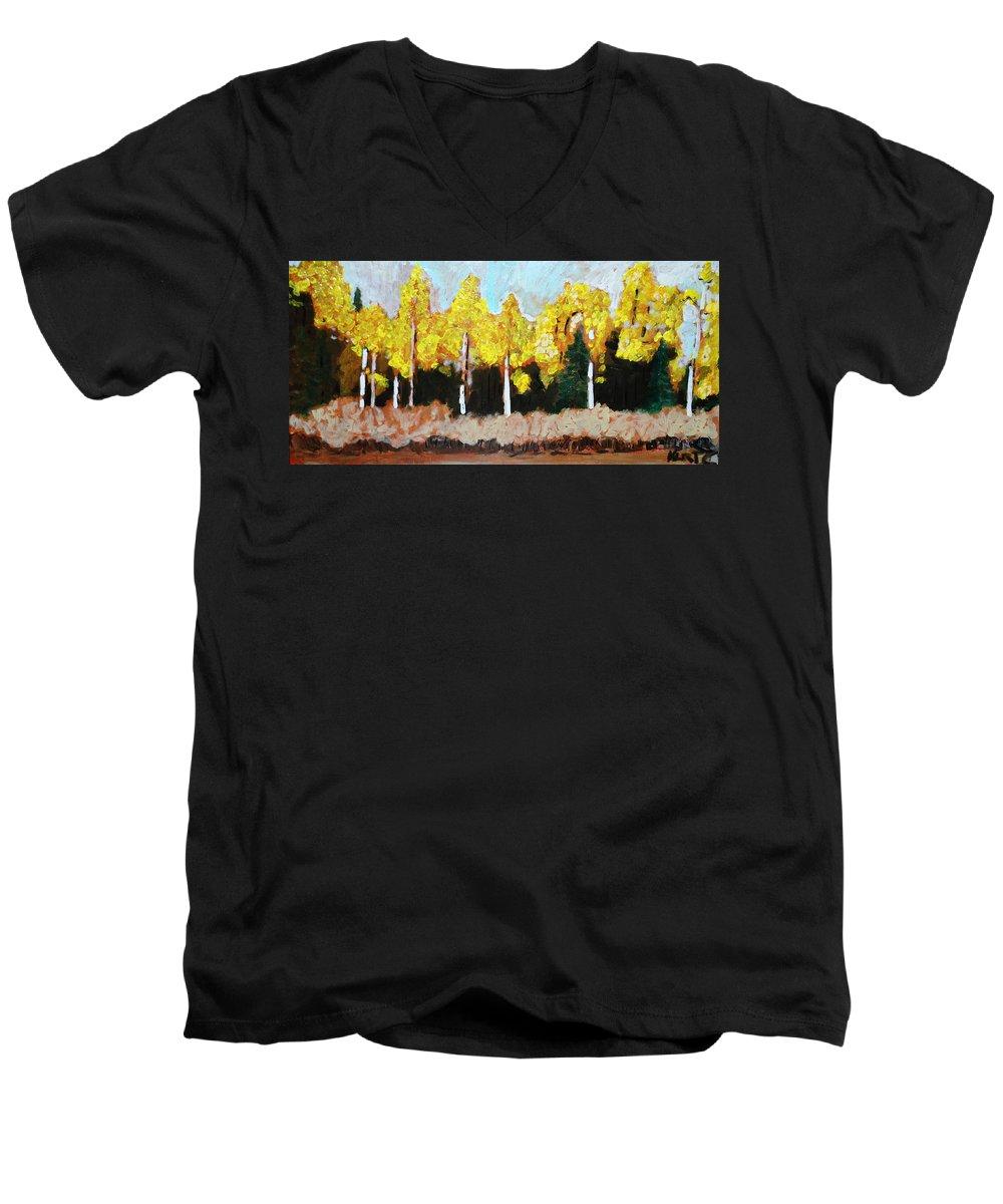 Fall Men's V-Neck T-Shirt featuring the painting Aspens by Kurt Hausmann