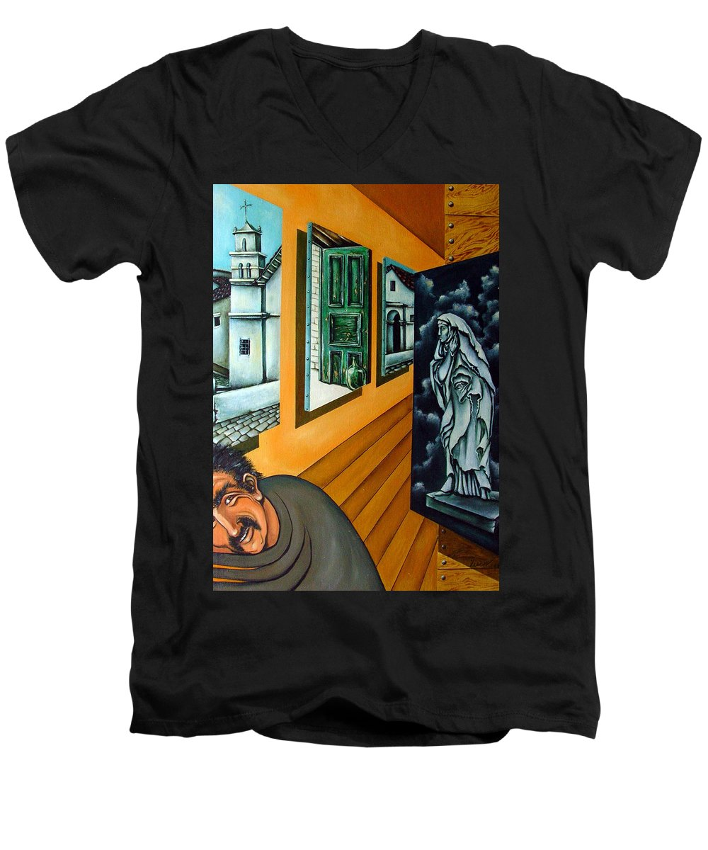 Surreal Men's V-Neck T-Shirt featuring the painting Asylum by Valerie Vescovi