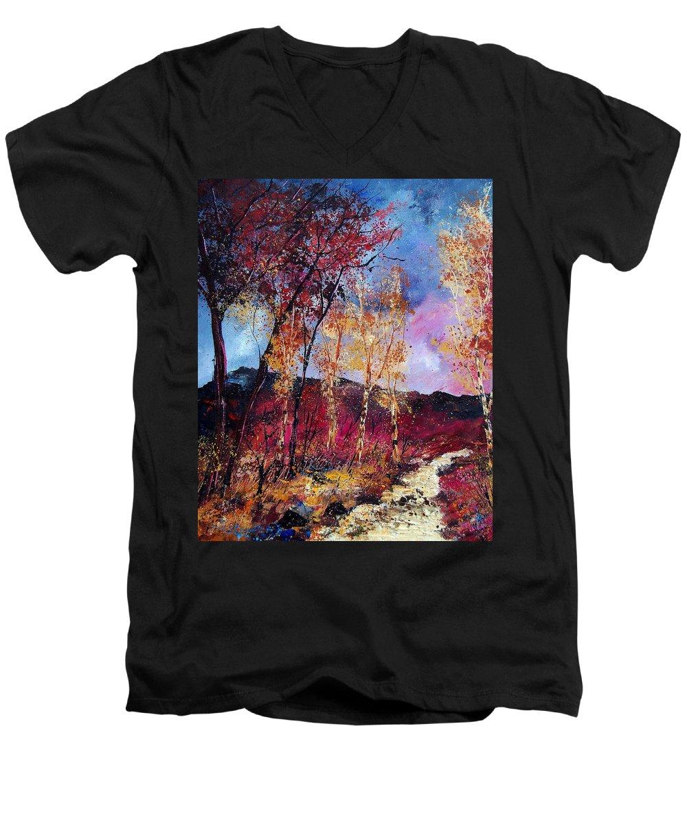Landscape Men's V-Neck T-Shirt featuring the painting Autumn 760808 by Pol Ledent