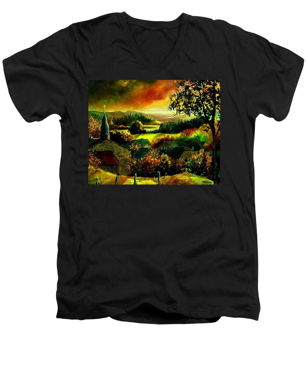 Landscape Men's V-Neck T-Shirt featuring the painting Autumn In Our Village Ardennes by Pol Ledent