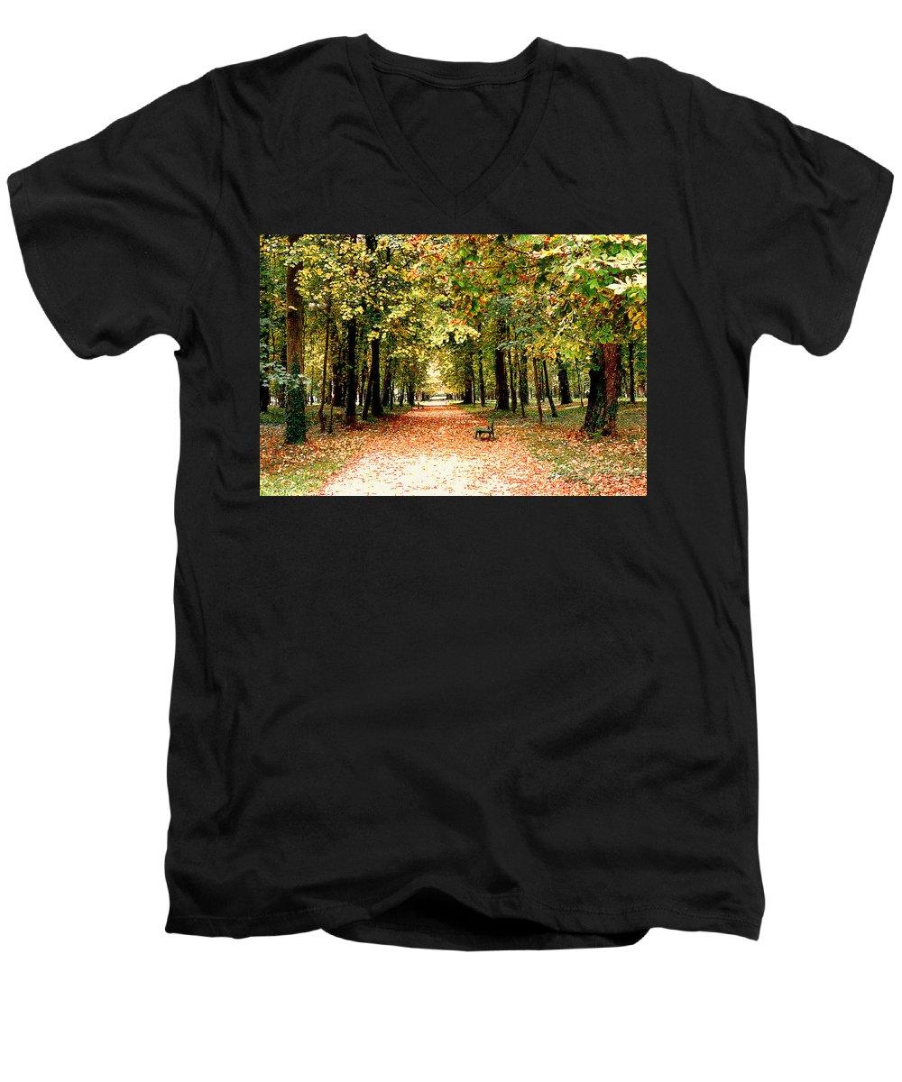 Autumn Men's V-Neck T-Shirt featuring the photograph Autumn In The Park by Nancy Mueller
