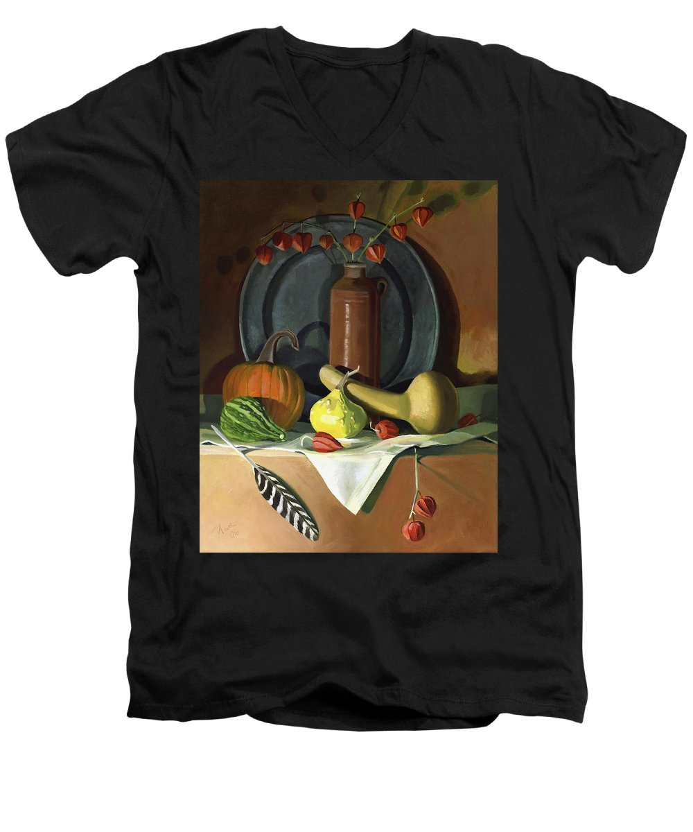 Still Life Men's V-Neck T-Shirt featuring the painting Autumn Still Life by Nancy Griswold