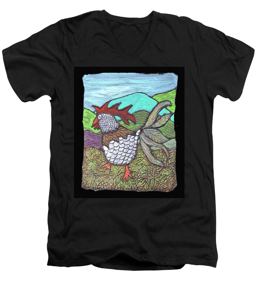 Chicken Men's V-Neck T-Shirt featuring the painting Autumn Strut by Wayne Potrafka