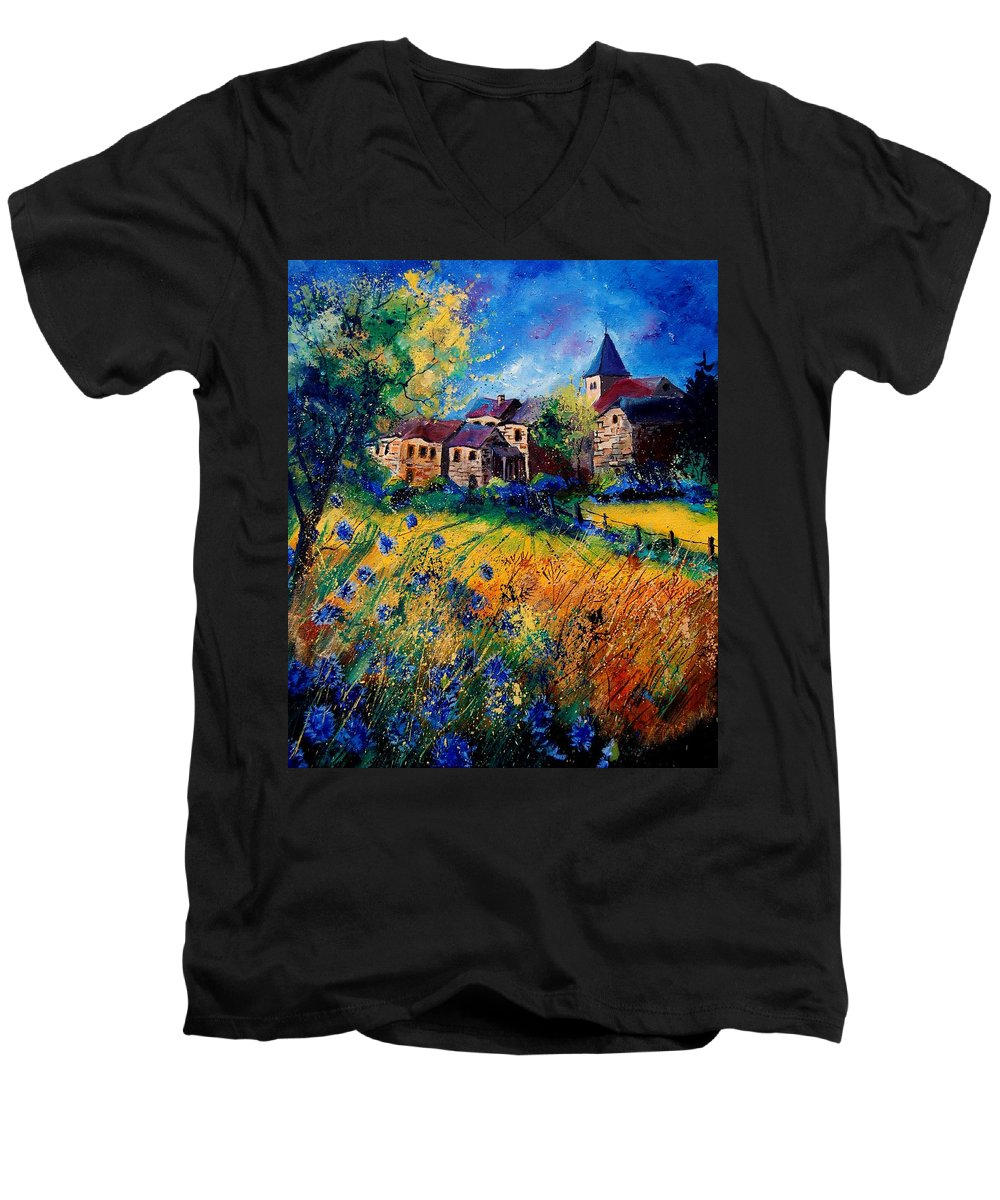 Tree Men's V-Neck T-Shirt featuring the painting Awagne 67 by Pol Ledent