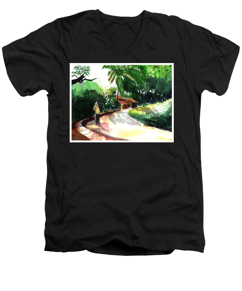 Water Color Watercolor Landscape Greenery Men's V-Neck T-Shirt featuring the painting Awe by Anil Nene