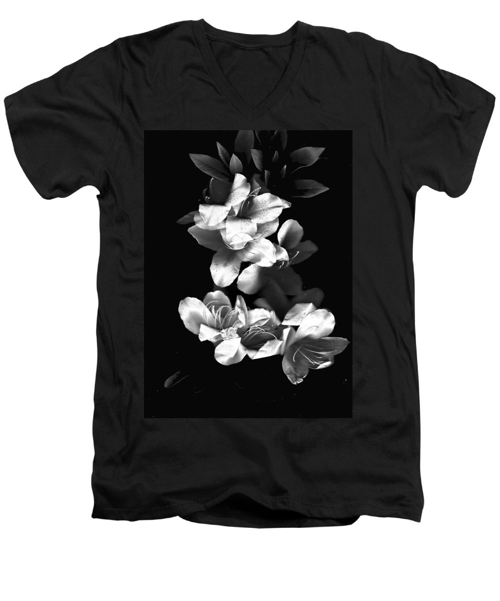 Azaela Men's V-Neck T-Shirt featuring the photograph Azaela Blossom In Black And White by Wayne Potrafka