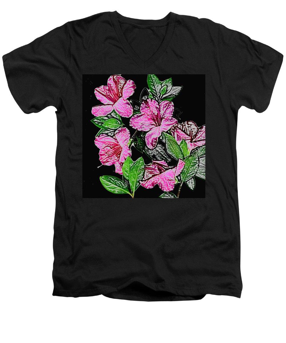Azalea Men's V-Neck T-Shirt featuring the photograph Azalea by Wayne Potrafka