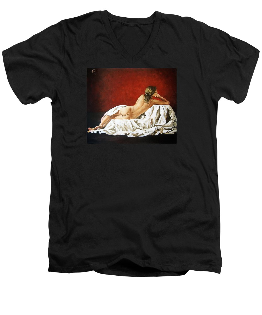 Back Men's V-Neck T-Shirt featuring the painting Back Nude by Natalia Tejera