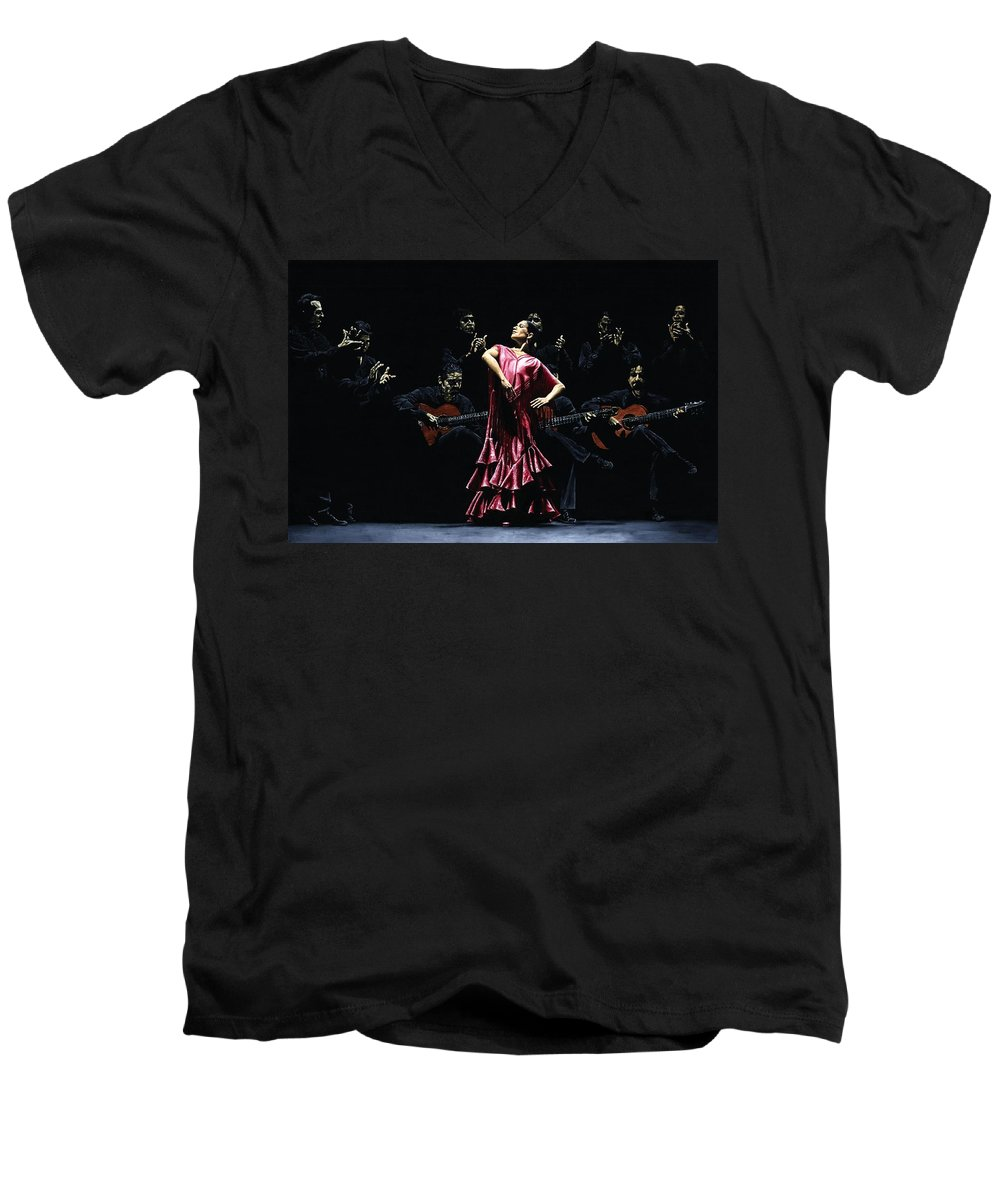 Flamenco Men's V-Neck T-Shirt featuring the painting Bailarina Orgullosa Del Flamenco by Richard Young
