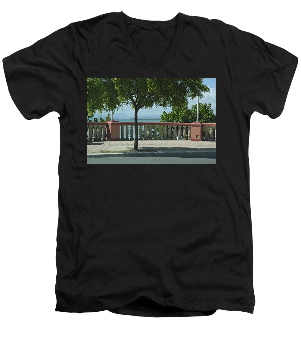 Landscape Men's V-Neck T-Shirt featuring the photograph Balcony On The Beach In Naguabo Puerto Rico by Tito Santiago