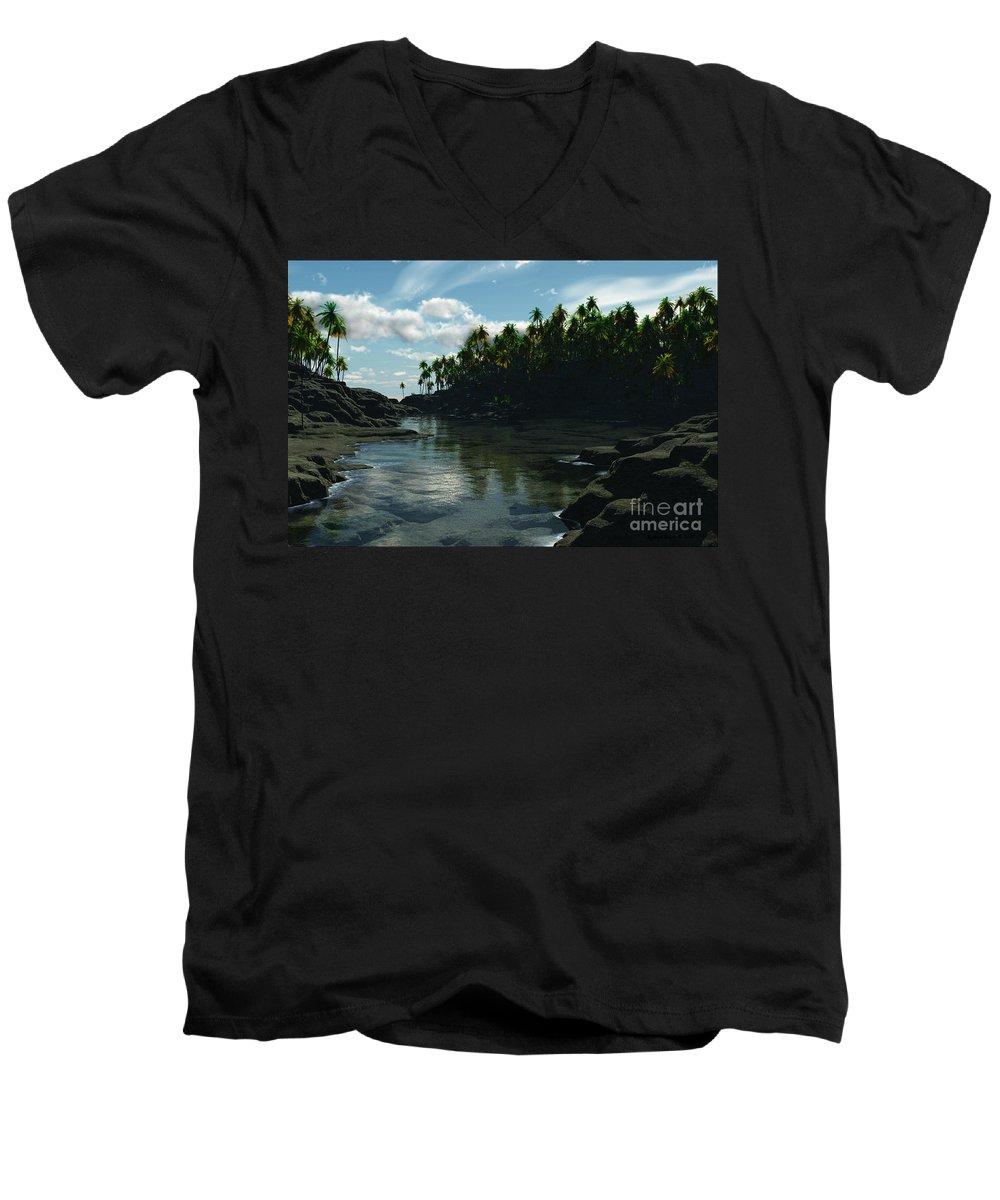 Rivers Men's V-Neck T-Shirt featuring the digital art Banana River by Richard Rizzo
