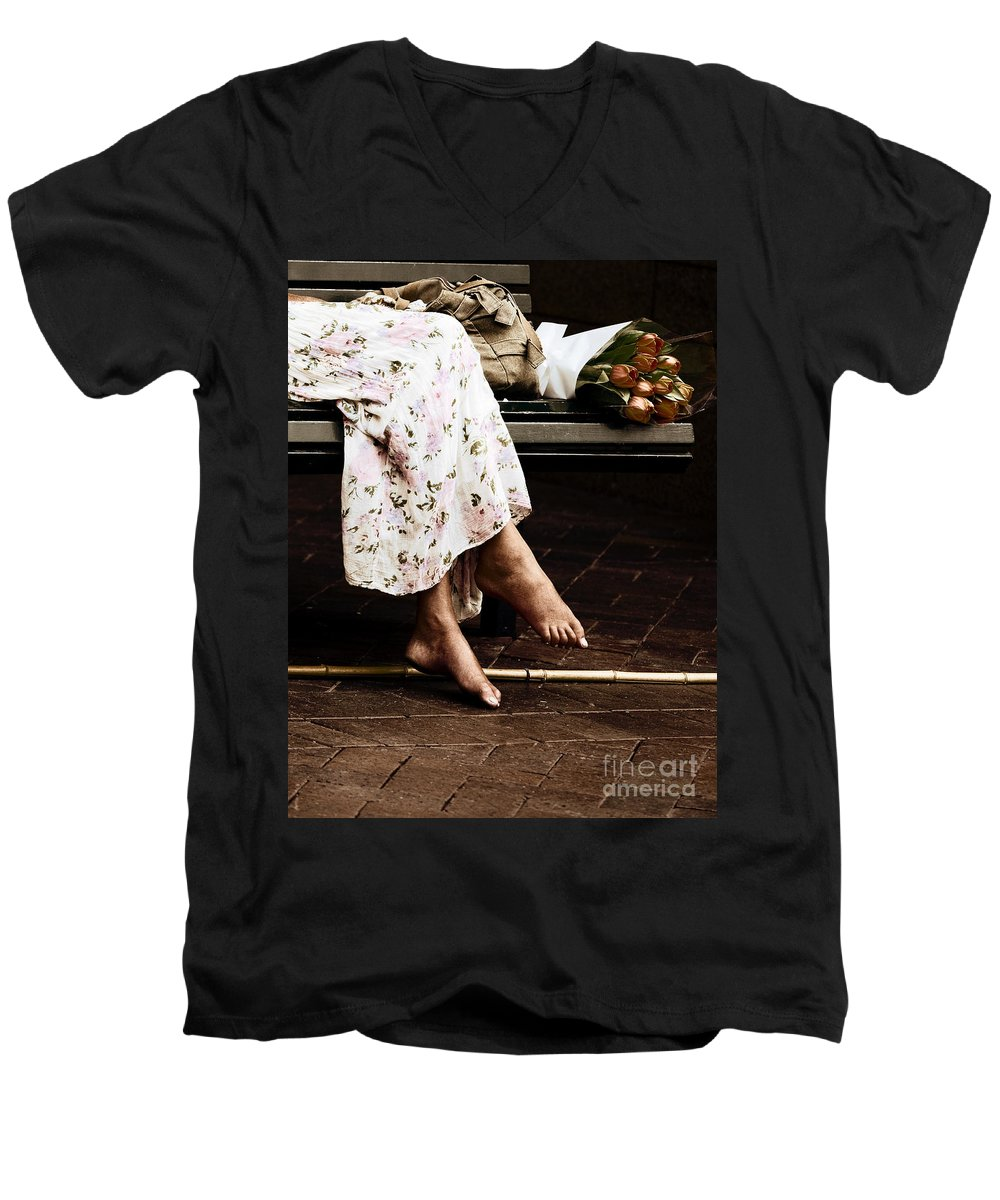 Barefeet Feet Barefoot Tulips Men's V-Neck T-Shirt featuring the photograph Barefoot And Tulips by Avalon Fine Art Photography