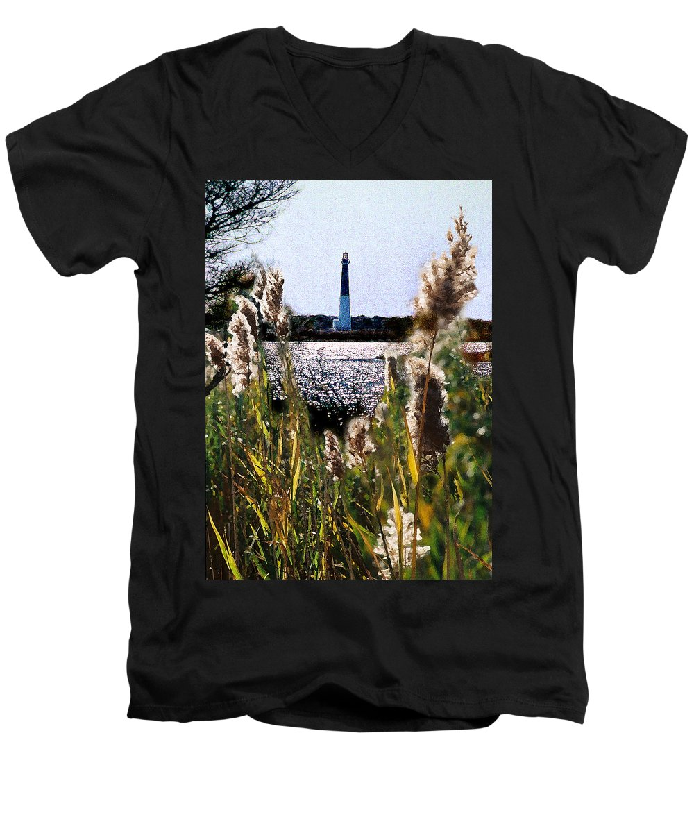 Barnegat Men's V-Neck T-Shirt featuring the digital art Barnegat Bay by Steve Karol