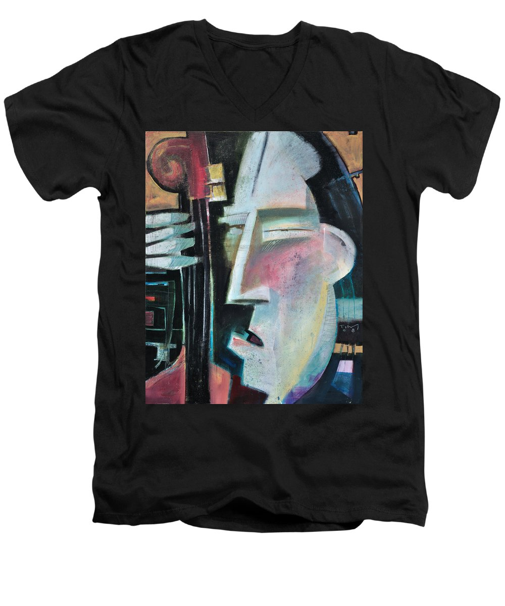 Jazz Men's V-Neck T-Shirt featuring the painting Bass Face by Tim Nyberg