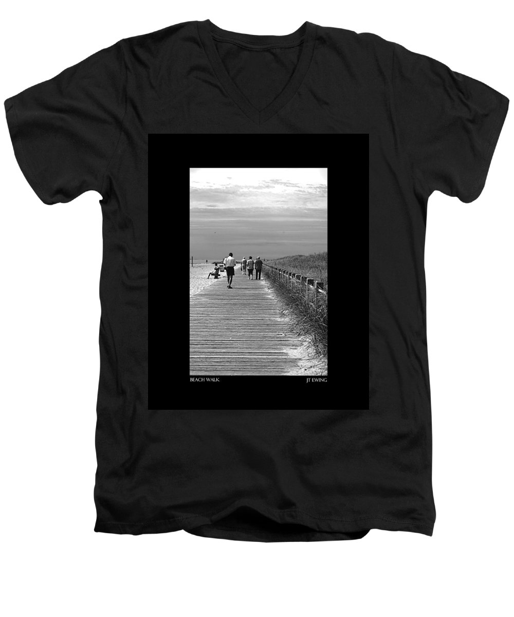 Boardwalk Men's V-Neck T-Shirt featuring the photograph Beach Walk by J Todd