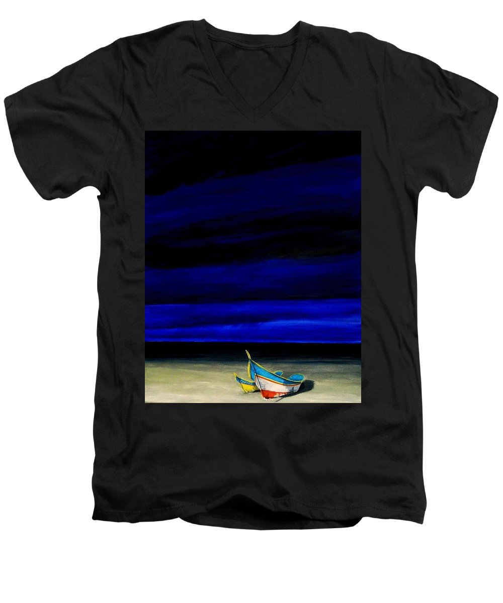 Landscape Painting Men's V-Neck T-Shirt featuring the painting Beached by Edith Peterson-Watson