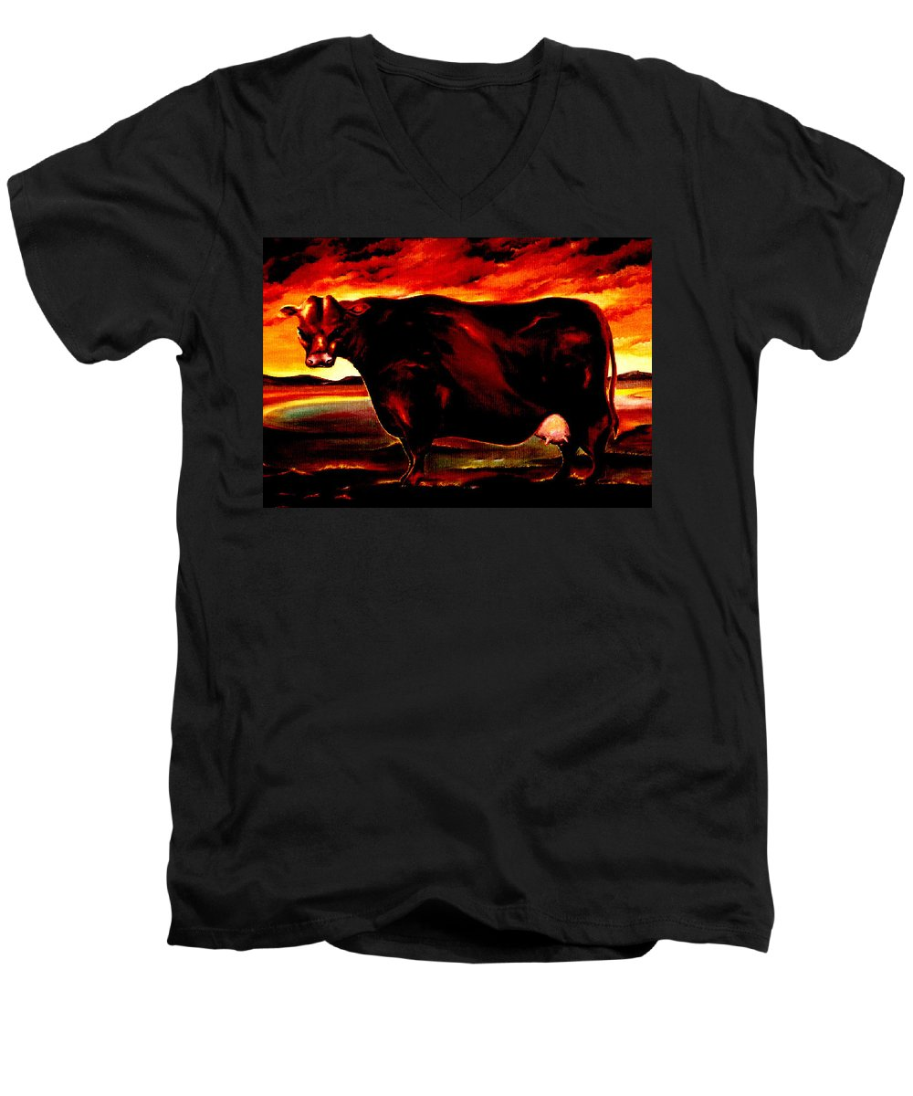 Farm Animal Men's V-Neck T-Shirt featuring the painting Beef Holocaust IIi by Mark Cawood