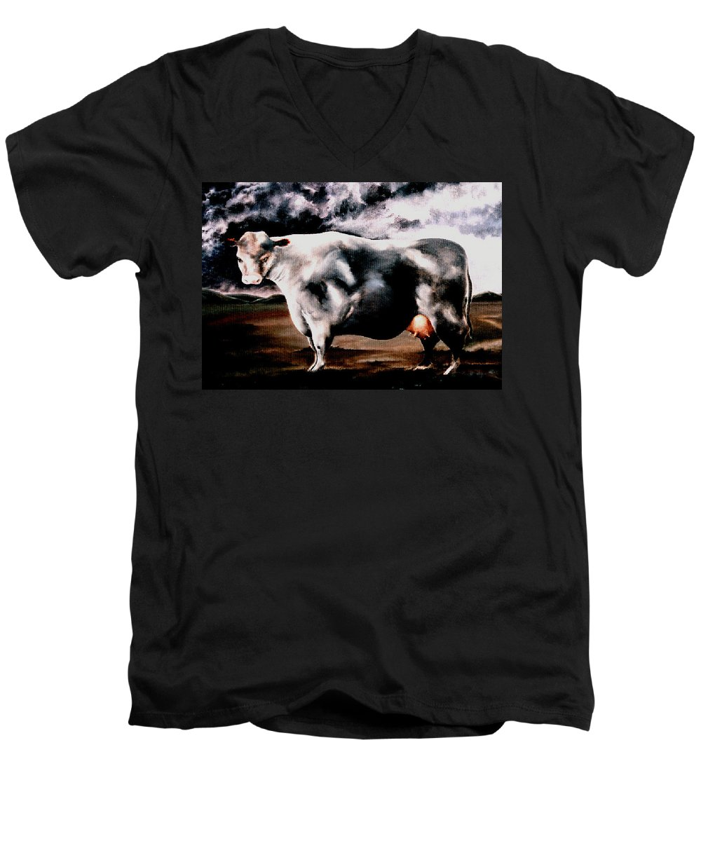 Cow Men's V-Neck T-Shirt featuring the painting Beef Holocaust Iv by Mark Cawood