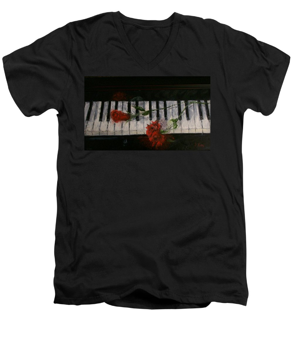 Still Life Men's V-Neck T-Shirt featuring the painting Before The Concert by Stephen King