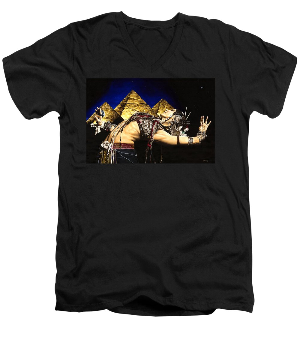 Bellydance Men's V-Neck T-Shirt featuring the painting Bellydance Of The Pyramids - Rachel Brice by Richard Young