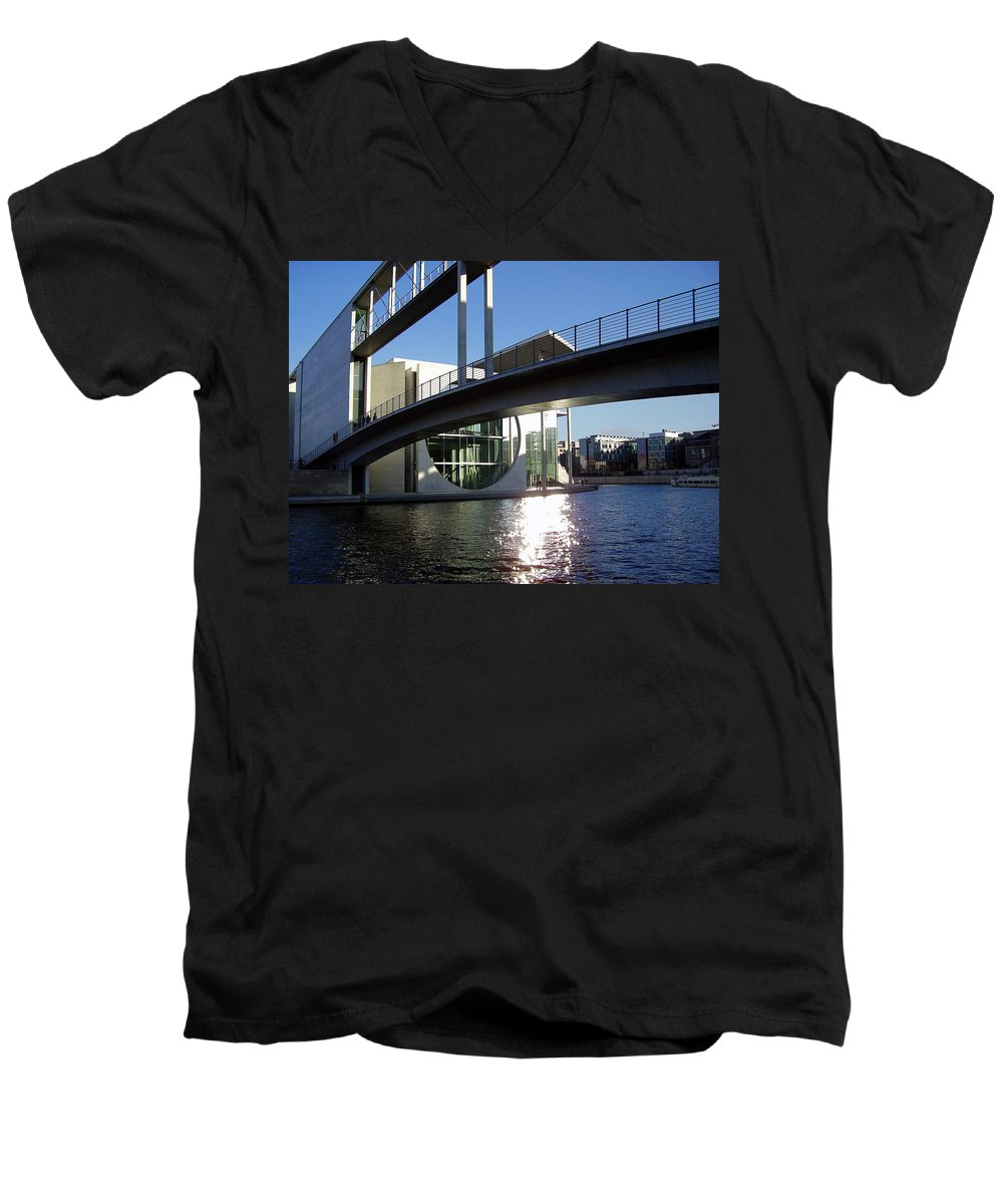 Marie-elisabeth-lueders Men's V-Neck T-Shirt featuring the photograph Berlin by Flavia Westerwelle