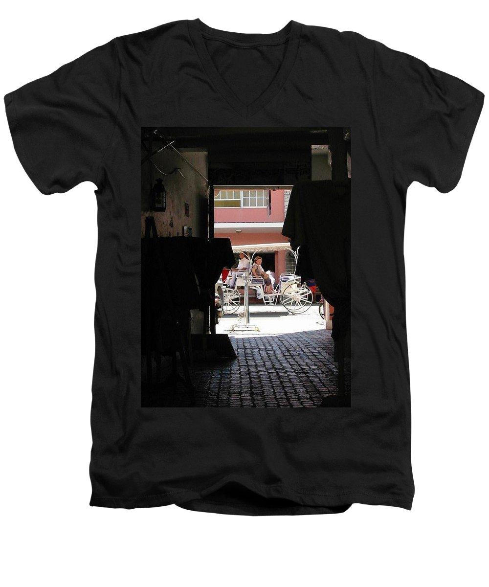 Bermuda Men's V-Neck T-Shirt featuring the photograph Bermuda Carriage by Ian MacDonald