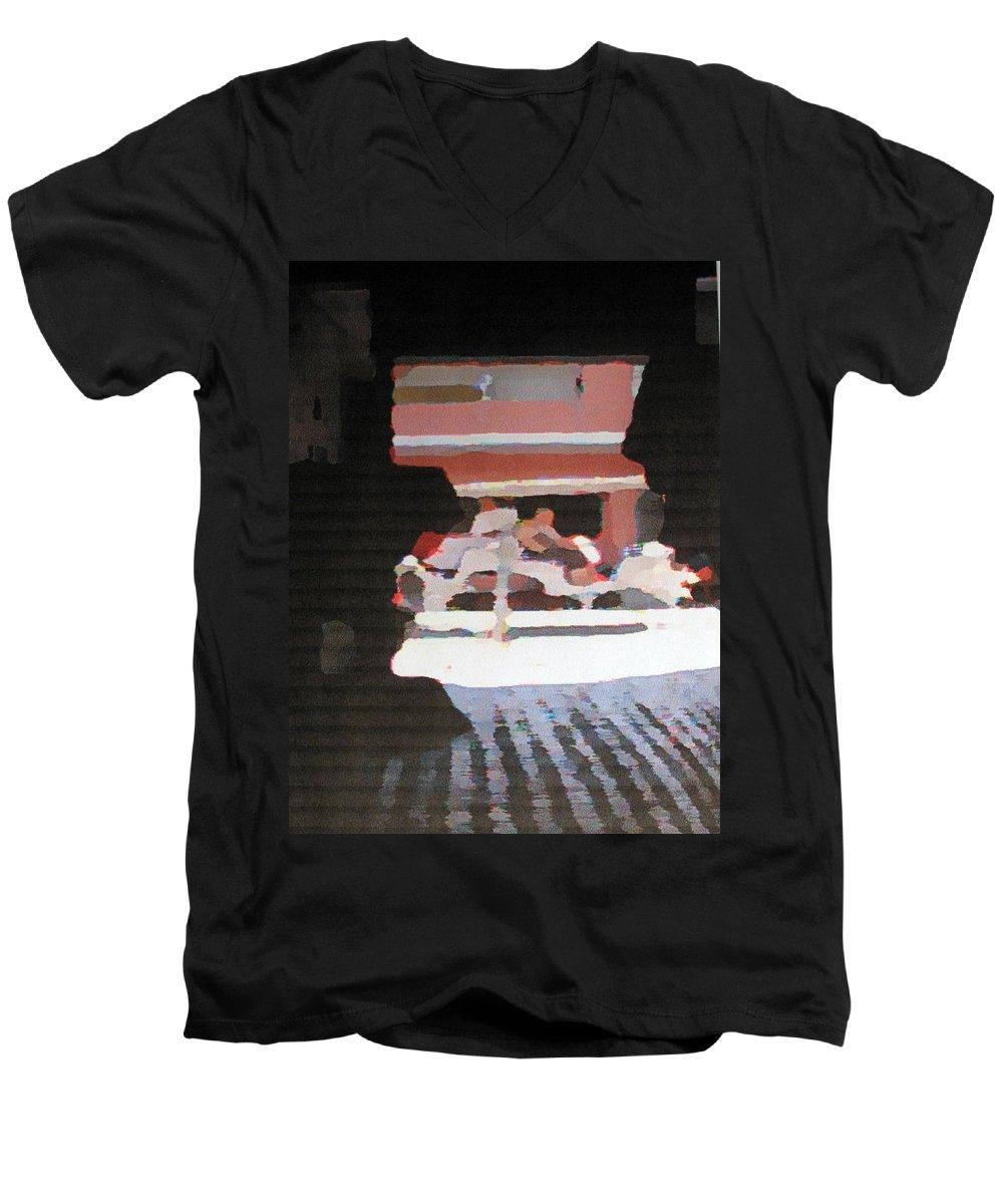 Bermuda Men's V-Neck T-Shirt featuring the photograph Bermuda Carriage Impressions by Ian MacDonald