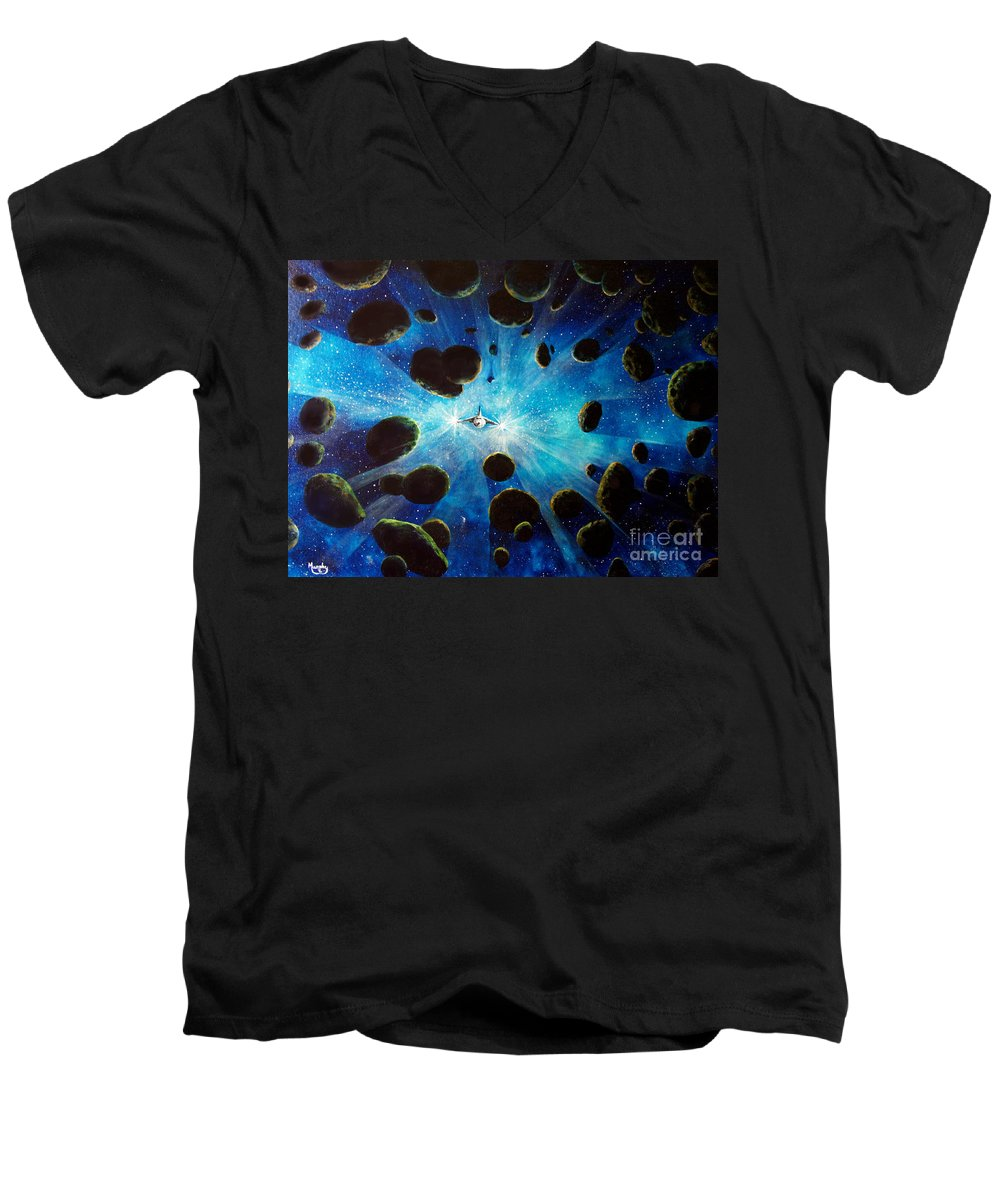 Asteroid Field. Astro Men's V-Neck T-Shirt featuring the painting Better Go Around by Murphy Elliott