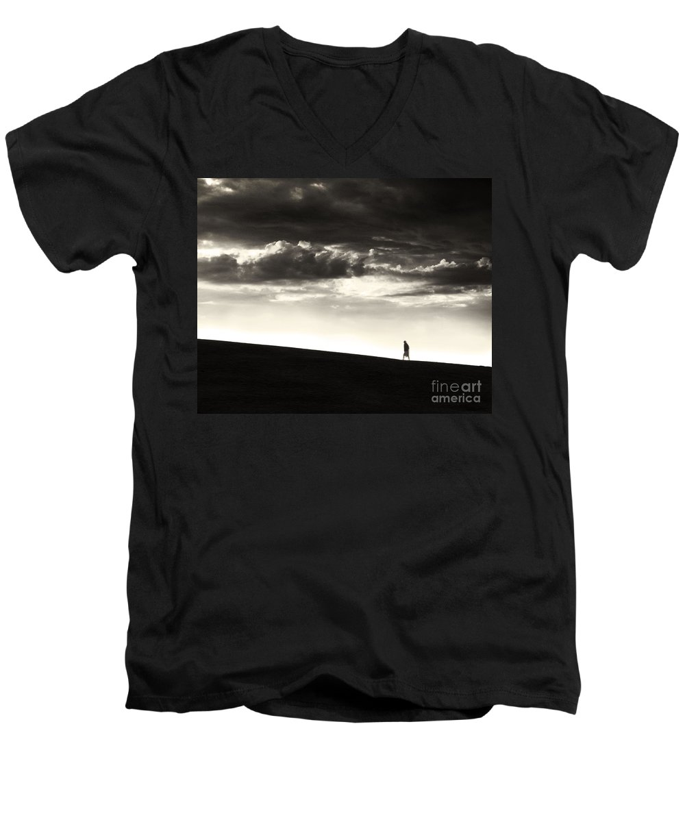 Man Men's V-Neck T-Shirt featuring the photograph Between Living And Dying by Dana DiPasquale