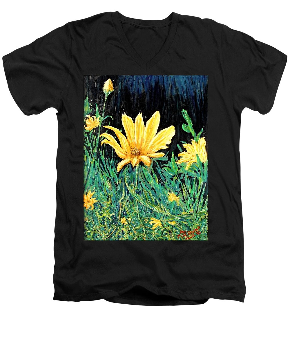 Flower Men's V-Neck T-Shirt featuring the painting Big Yellow by Ian MacDonald