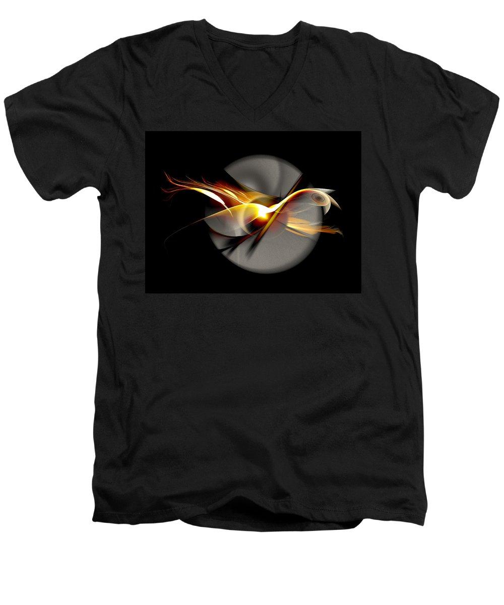 Bird Men's V-Neck T-Shirt featuring the digital art Bird Of Passage by Aniko Hencz