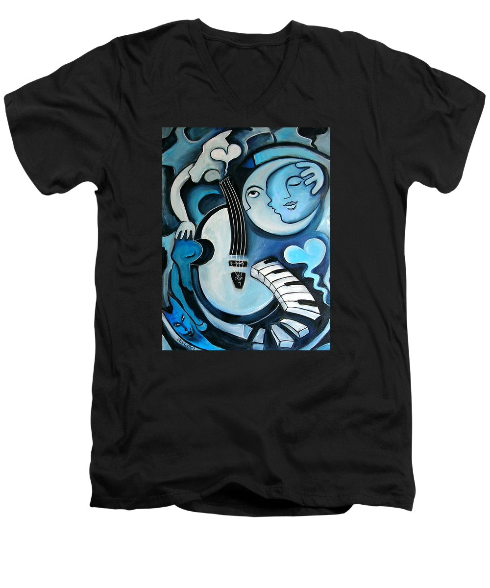 Abstract Men's V-Neck T-Shirt featuring the painting Black And Bleu by Valerie Vescovi