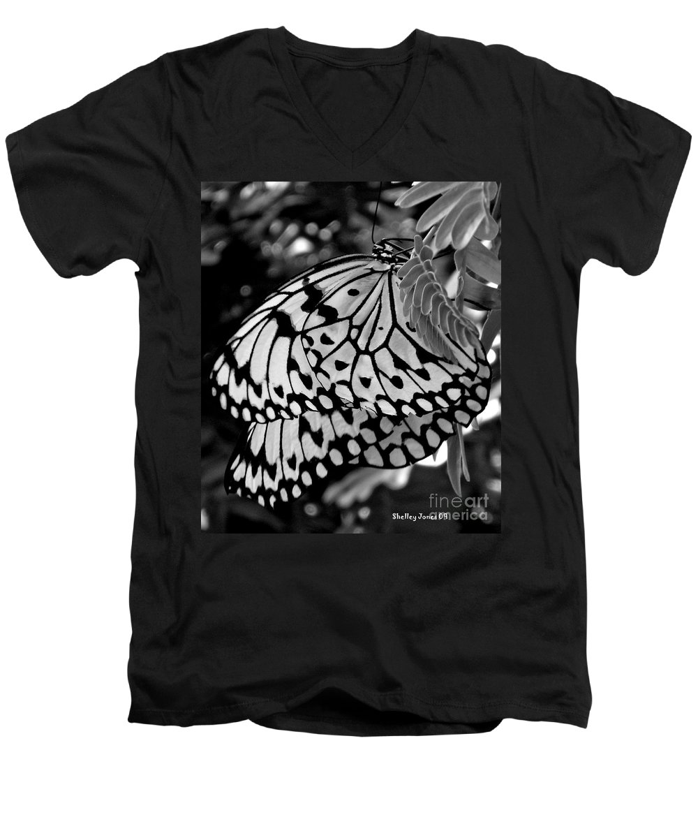 Photograph Men's V-Neck T-Shirt featuring the photograph Black And White Butterfly by Shelley Jones