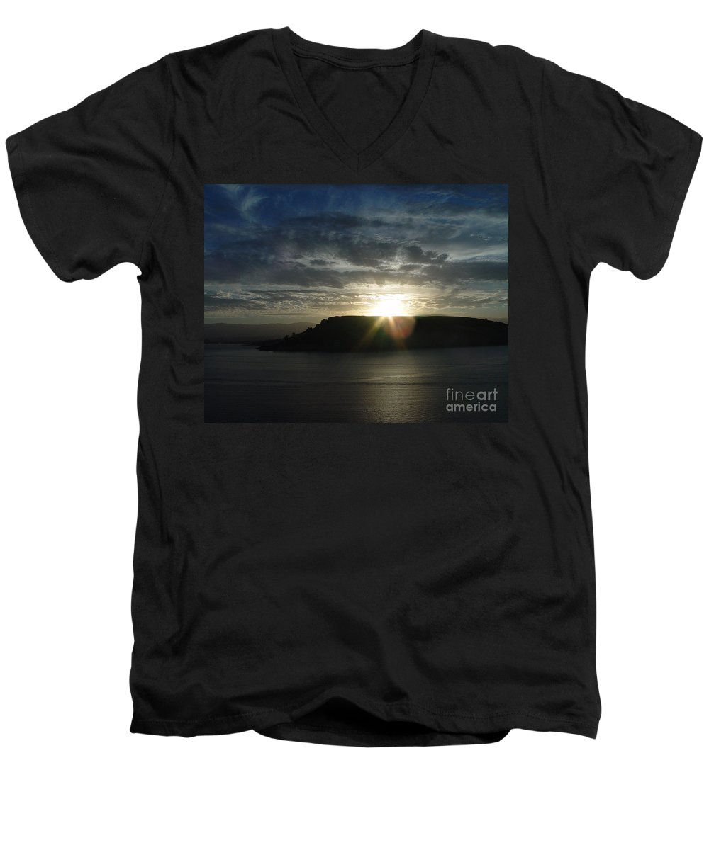 Black Butte Lake Men's V-Neck T-Shirt featuring the photograph Black Butte Sunrise by Peter Piatt
