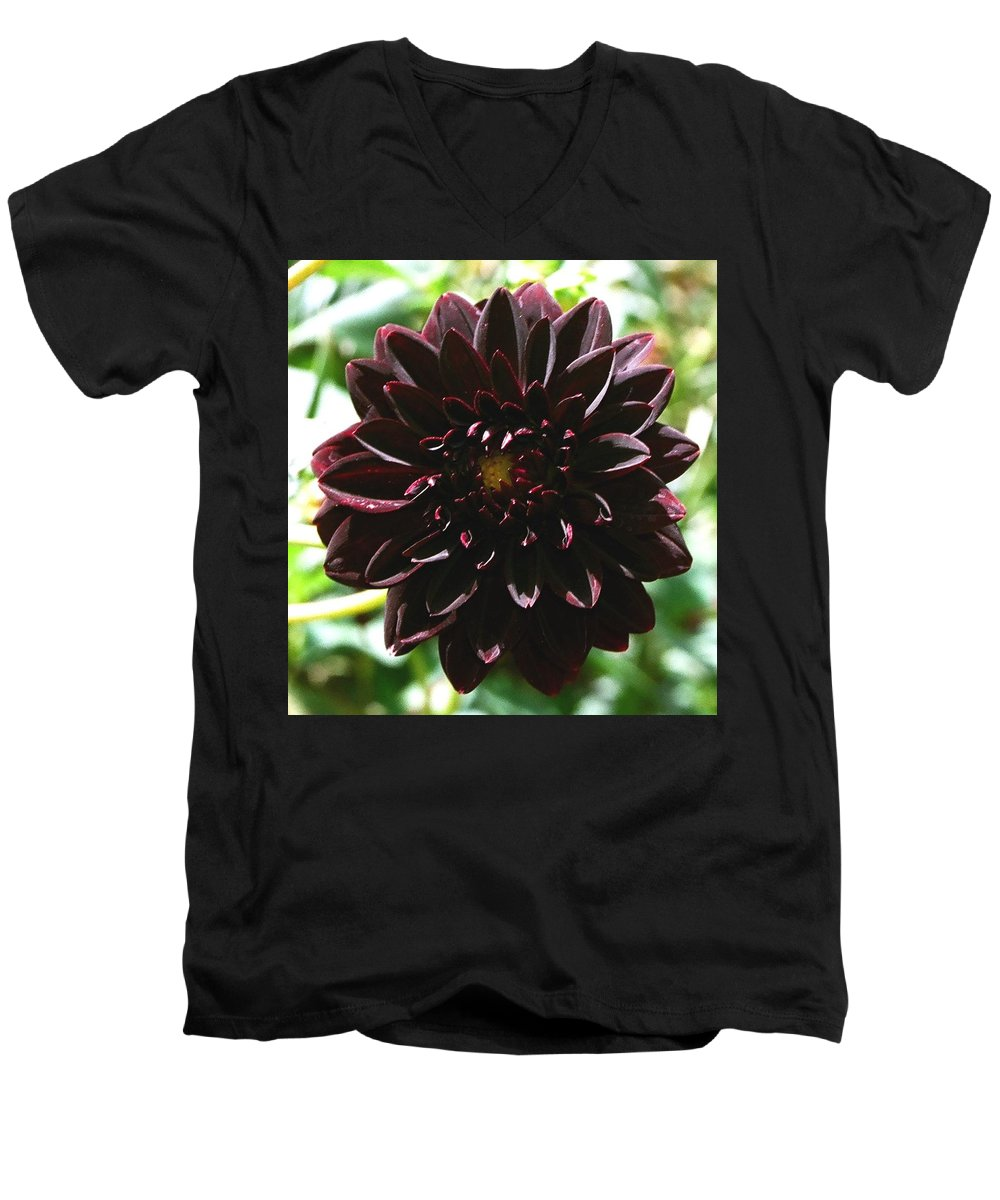 Flower Men's V-Neck T-Shirt featuring the photograph Black Dalia by Dean Triolo