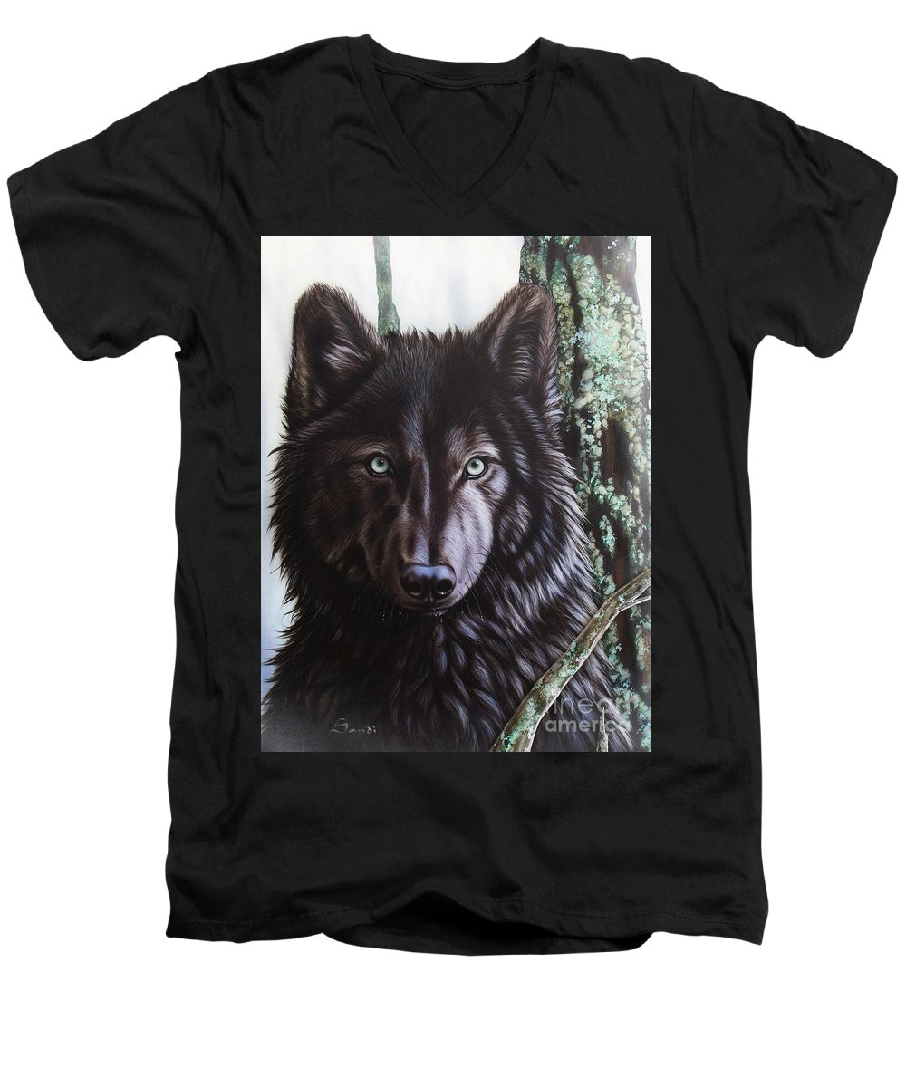 Wolves Men's V-Neck T-Shirt featuring the painting Black Wolf by Sandi Baker