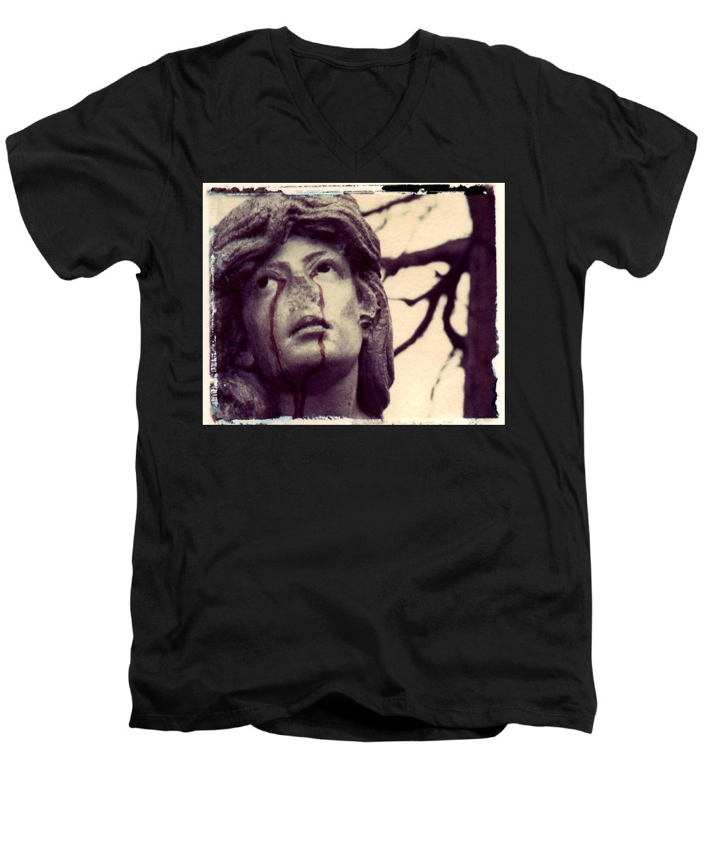 Polaroid Men's V-Neck T-Shirt featuring the photograph Blood Is The New Black by Jane Linders
